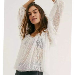 NWOT Free People Mesh Lace Long Sleeve Blouse Top